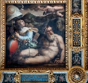 Giorgio Vasari and Giovanni Stradano, Allegory of Fiesole, Ceiling of the Hall of Five Hundred of Palazzo Vecchio in Florence