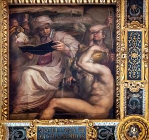 Giorgio Vasari and Giovanni Stradano, Allegory of Mugello, Ceiling of the Hall of Five Hundred of Palazzo Vecchio in Florence