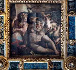 Giorgio Vasari and Giovanni Stradano, Allegory of Romagna, Ceiling of the Hall of Five Hundred of Palazzo Vecchio in Florence