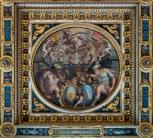 Giorgio Vasari, Allegory of the Districts of Santa Maria Novella and San Giovanni, Ceiling of the Hall of Five Hundred of Palazzo Vecchio in Florence