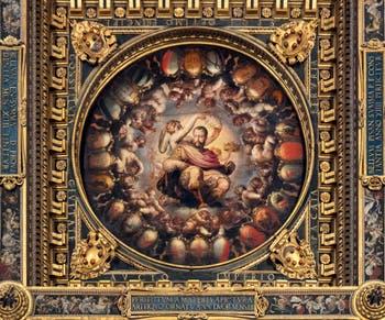 Giorgio Vasari and Giovanni Battista Naldini, The Apotheosis of Cosimo I of Medici, Ceiling of the Hall of Five Hundred of Palazzo Vecchio in Florence