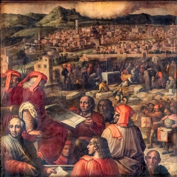 Giorgio Vasari and Giovanni Stradano, Arnolfo di Cambio presents the project of expansion of Florence Ceiling of the Hall of Five Hundred of Palazzo Vecchio in Florence