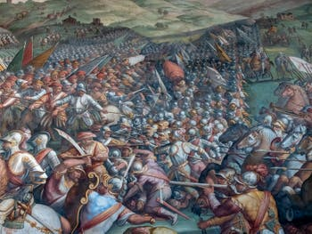 The Mystery of the Battle of Anghiari by Leonardo da Vinci: Cerca Trova, Who Seeks Find , Hall of Five Cents of Palazzo Vecchio in Florence in Italy