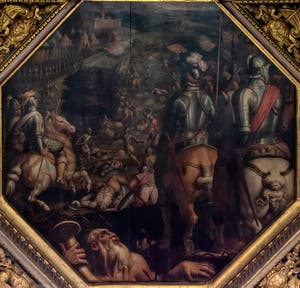 Giorgio Vasari and Giovanni Stradano, Battle of Marciano in Val di Chiana, on the ceiling of the Hall of Five Hundred of Palazzo Vecchio in Florence, Italy
