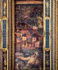Giorgio Vasari and Giovanni Stradano, Naval Battle between Florentines and Pisans, Ceiling of the Hall of Five Hundred of Palazzo Vecchio in Florence