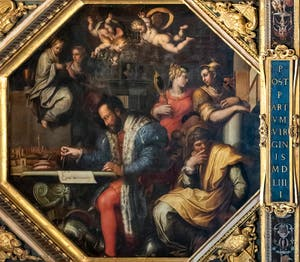 Giorgio Vasari and Giovanni Stradano, The Duke Cosimo I of Medici studies the capture of Siena, Ceiling of the Hall of Five Hundred of Palazzo Vecchio in Florence in Italy