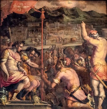 Giorgio Vasari and Giovanni Stradano, The Foundation of Florence Roman Colony, on the ceiling of the Hall of Five Hundred of Palazzo Vecchio in Florence, Italy