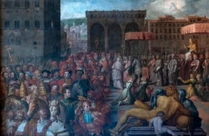 Giorgio Vasari, The Visit to Florence of Pope Leo X, Palazzo Vecchio in Florence Italy