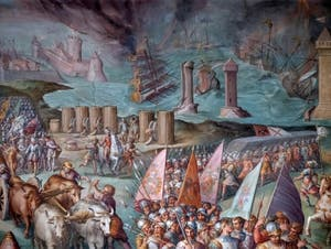 War of Pisa, The Lifting of the Siege of Livorno by the Emperor of the Holy Empire Maximilian I of Austria,  by Giorgio Vasari and Giovanni Battista Naldini, Hall of the Five Hundred in Palazzo Vecchio, Florence Italy