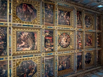 Paintings of the Ceiling of the Hall of Five Hundred of the Palazzo Vecchio in Florence in Italy