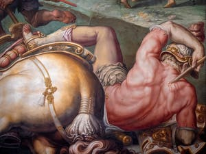 War of Pisa, The Defeat of the Pisans at the Tower of San Vincenzo, by Giorgio Vasari and Giovanni Battista Naldini, Hall of the Five Hundred Palazzo Vecchio in Florence in Italy