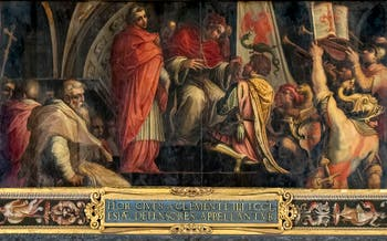 Giorgio Vasari, Pope Clement IV gives his standard to the captain of the party of the Guelphs, on the ceiling of the Hall of Five Hundred of Palazzo Vecchio in Florence
