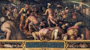 Giorgio Vasari and Giovanni Stradano, Defeat of Radagaise king of the Goths in Fiesole, on the ceiling of the Hall of Five Hundred of Palazzo Vecchio in Florence, Italy