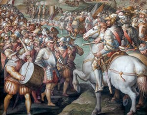 War of Siena, Taking of the Port of Ercole, by Giorgio Vasari, Hall of Five Hundred of Palazzo Vecchio in Florence