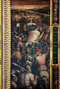 Giorgio Vasari and Giovanni Stradano, Taking of Cascina, Ceiling of the Hall of Five Hundred of Palazzo Vecchio in Florence