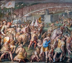 War of Pisa, Taking of the Fortress of Stampace in Pisa by Giorgio Vasari and Giovanni Battista Naldini, Hall of the Five Hundred Palazzo Vecchio in Florence in Italy