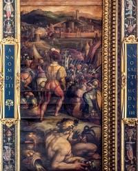 Giorgio Vasari and Giovanni Stradano, Taking of Vicopisano, Ceiling of the Hall of Five Hundred of Palazzo Vecchio in Florence