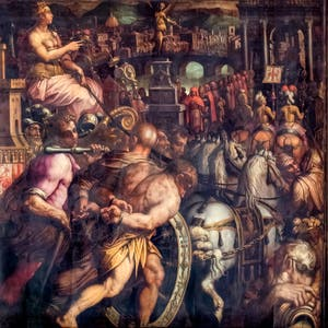 Giorgio Vasari and Giovanni Stradano, The Triumph After the War of Pisa, Ceiling of the Hall of Five Hundred of Palazzo Vecchio in Florence