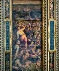 Giorgio Vasari and Giovanni Stradano, Defeat of the Turks in Piombino, on the ceiling of the Hall of Five Hundred of Palazzo Vecchio in Florence, Italy