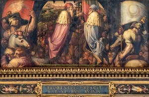 Giorgio Vasari and Giovanni Stradano, Union of Florence and Fiesole, Ceiling of the Hall of Five Hundred of Palazzo Vecchio in Florence