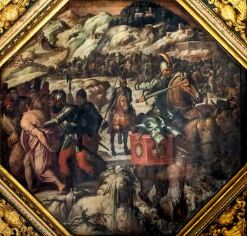 Giorgio Vasari and Giovanni Stradano, Defeat of the Venetians in Casentino, Ceiling of the Hall of Five Hundred of Palazzo Vecchio in Florence