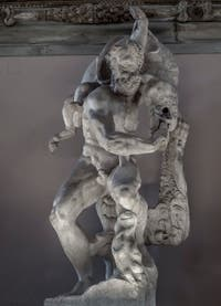 """Vincenzo de Rossi """"Hercules captures the Boar of Erymanthus"""" Hall of the Five Hundred of Palazzo Vecchio in Florence"""