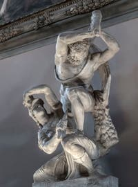"""Vincenzo de Rossi """"Hercules kills Hippolytus the Queen of the Amazons"""" Hall of Five Hundred of Palazzo Vecchio in Florence"""
