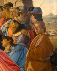 Botticelli Self-Portrait in the Adoration of the Magi Altar Piece of Santa Maria Novella, Uffizi Gallery, Florence Italy