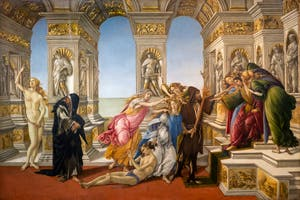 Botticelli, The Calumny of Apelles, Uffizi Gallery, Florence Italy