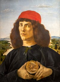 Botticelli, Portrait of a Young Man with a Medal, Uffizi Gallery, Florence Italy